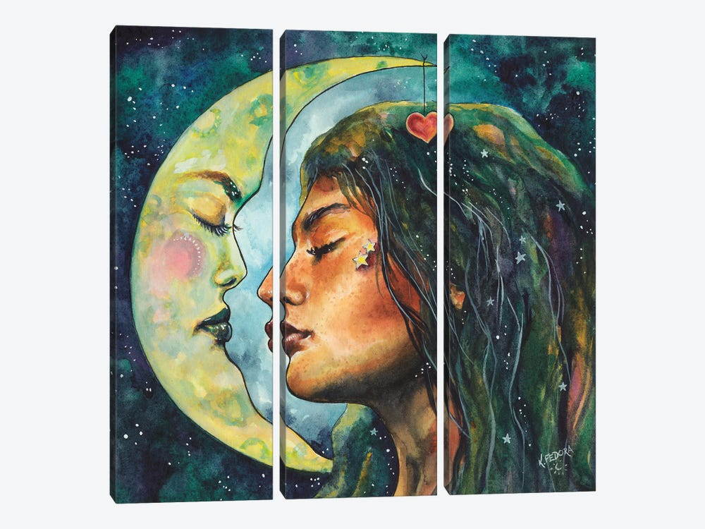 Moon Lovers by Kat Fedora 3-piece Canvas Print