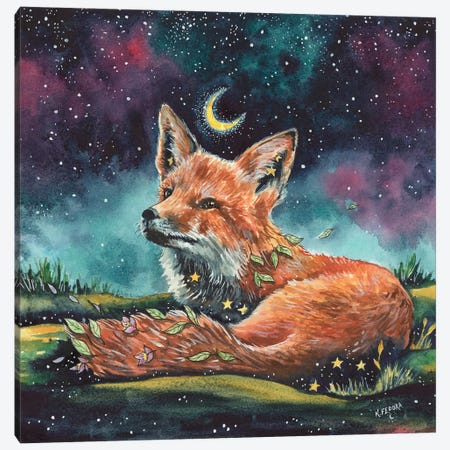 Watching The Night Canvas Print #KTF21} by Kat Fedora Canvas Artwork