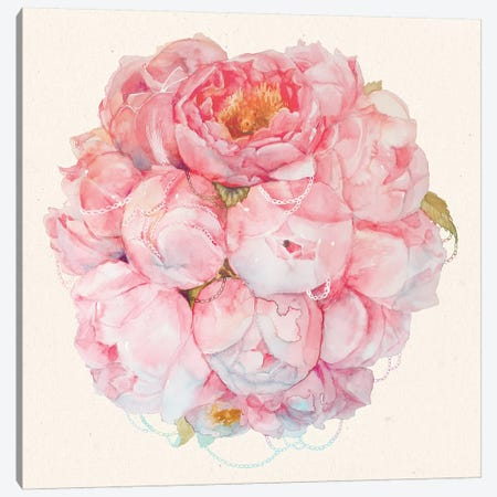 Bouquet Of Peonies Canvas Print #KTO10} by Kate Tova Canvas Wall Art