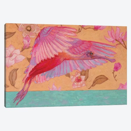 Spoonbill And Magnolias Canvas Print #KTO42} by Kate Tova Art Print