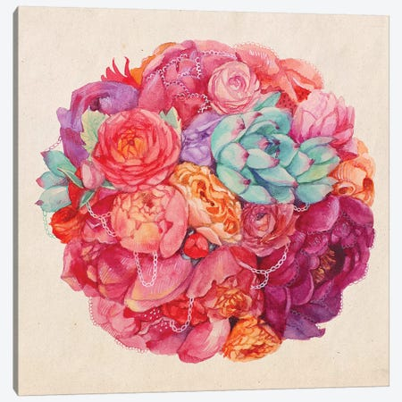 Summer Bouquet Canvas Print #KTO45} by Kate Tova Canvas Art