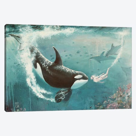 Underwater Love At First Sight Canvas Print #KTO50} by Kate Tova Canvas Artwork