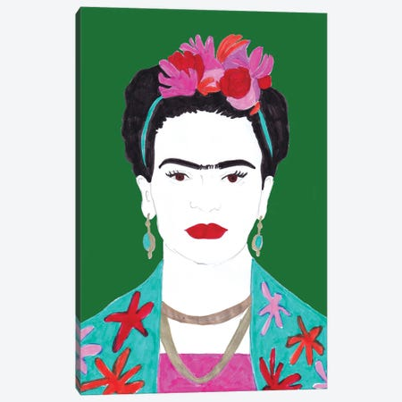 Flowers And Frida Canvas Print #KTS39} by Kats Illustration Canvas Artwork