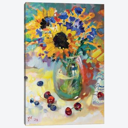 Summer Bouquet In Glass Vase Canvas Print #KTV101} by Katharina Valeeva Canvas Artwork