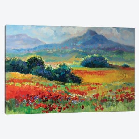 Summer Landscape With Poppy Field Canvas Print #KTV103} by Katharina Valeeva Canvas Artwork