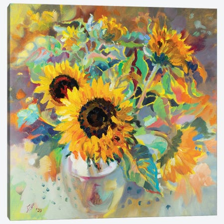 Sunflowers Canvas Print #KTV105} by Katharina Valeeva Canvas Art Print