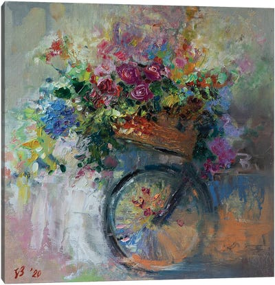 Bicycle Basket With Flowers Canvas Art Print