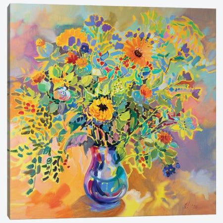Warm Bouquet Canvas Print #KTV117} by Katharina Valeeva Canvas Art