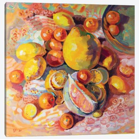 Yellow Still Life With Citrus Canvas Print #KTV120} by Katharina Valeeva Canvas Wall Art