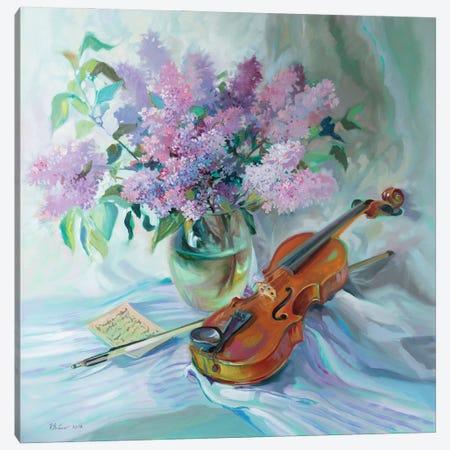 Bouquet Of Lilacs And Violin Canvas Print #KTV18} by Katharina Valeeva Art Print