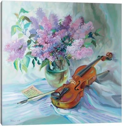 Bouquet Of Lilacs And Violin Canvas Art Print