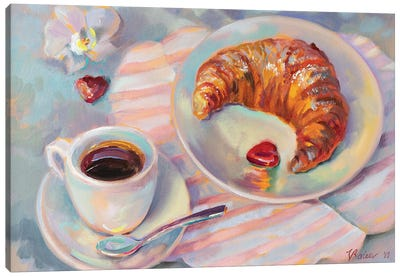 Breakfast With Croissant Canvas Art Print