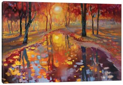 Evening In Autumn Park Canvas Art Print