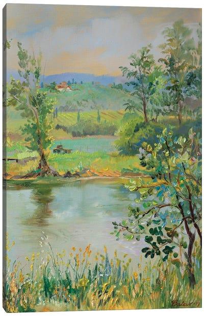 Fish Pond In Tuscany Canvas Art Print