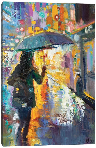 At The Bus Stop In The Rain Canvas Art Print