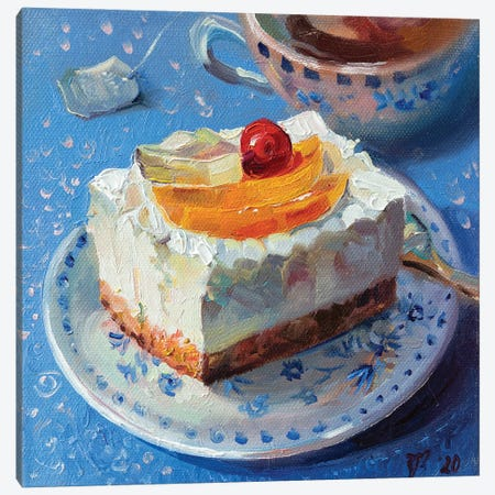 Fruit Cheesecake With Tea Canvas Print #KTV40} by Katharina Valeeva Canvas Art