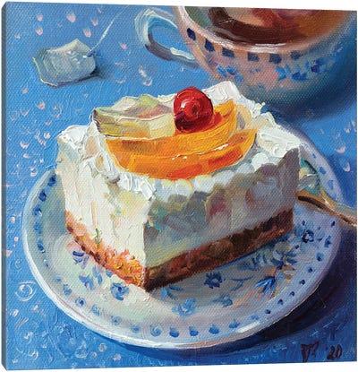 Fruit Cheesecake With Tea Canvas Art Print