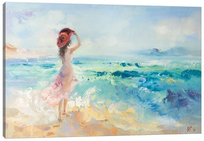 Girl In Red Hat On The Beach Canvas Art Print
