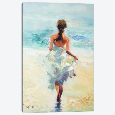 Girl Running On The Waves Canvas Print #KTV47} by Katharina Valeeva Canvas Print
