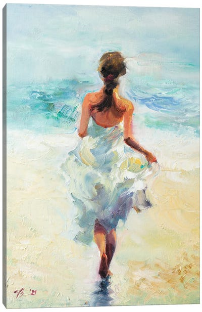 Girl Running On The Waves Canvas Art Print