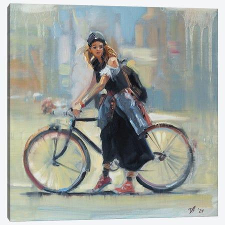 Girl With A Bicycle Canvas Print #KTV48} by Katharina Valeeva Canvas Art