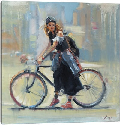 Girl With A Bicycle Canvas Art Print