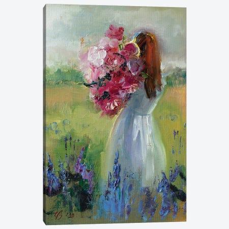 Girl With Flowers Canvas Print #KTV49} by Katharina Valeeva Canvas Art