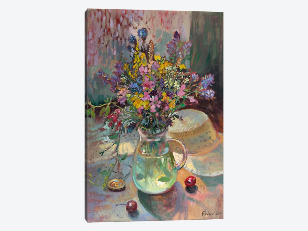 Meadow Bouquet And Straw Hat by Katharina Valeeva 1-piece Canvas Artwork