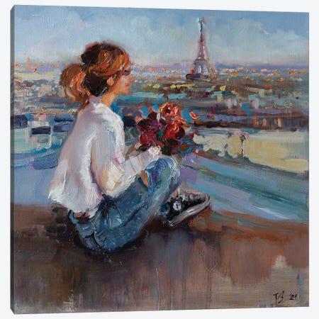 On The Parisian Rooftops Canvas Print #KTV68} by Katharina Valeeva Canvas Artwork