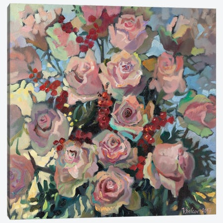 Pink Roses Canvas Print #KTV75} by Katharina Valeeva Canvas Artwork