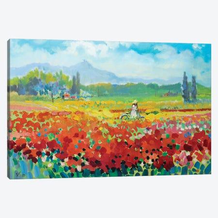 Provence. Poppy Field Canvas Print #KTV77} by Katharina Valeeva Canvas Wall Art