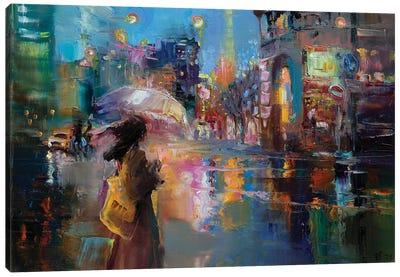 Rain On A City Street Canvas Art Print
