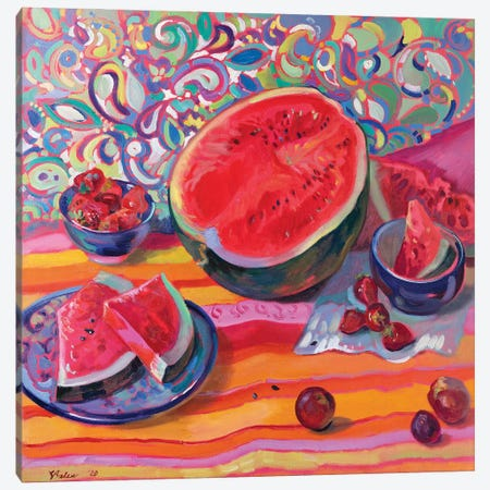 Still Life With Watermelon Canvas Print #KTV96} by Katharina Valeeva Canvas Artwork