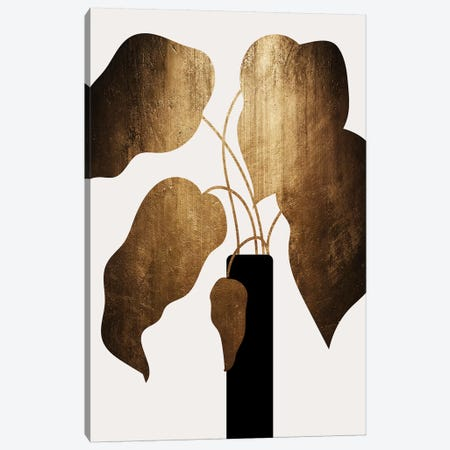 Abstract Bouquet - Gold Canvas Print #KUB101} by Kubistika Canvas Artwork