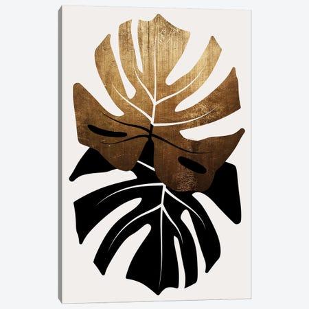 Duet Of Monsteras - Gold Canvas Print #KUB152} by Kubistika Art Print