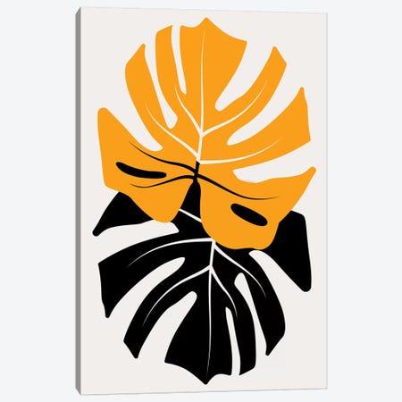Duet Of Monsteras - Yellow Canvas Print #KUB154} by Kubistika Canvas Artwork