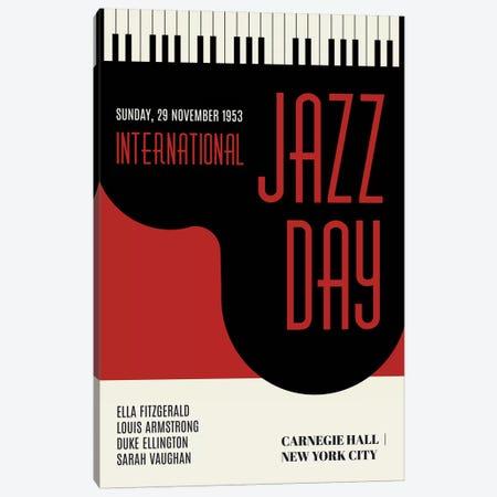 Jazzy Days - Dark Red Canvas Print #KUB176} by Kubistika Canvas Art