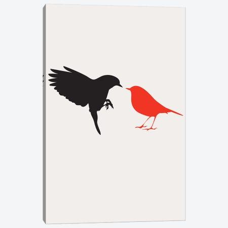 Lovebirds - Red Canvas Print #KUB188} by Kubistika Canvas Wall Art