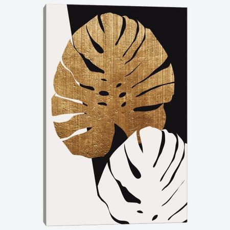 Monstera Leafs - Gold Canvas Print #KUB192} by Kubistika Art Print