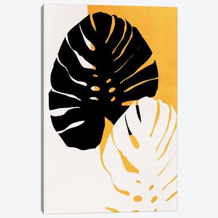 Monstera Leafs - Yellow Canvas Print #KUB193} by Kubistika Canvas Art Print