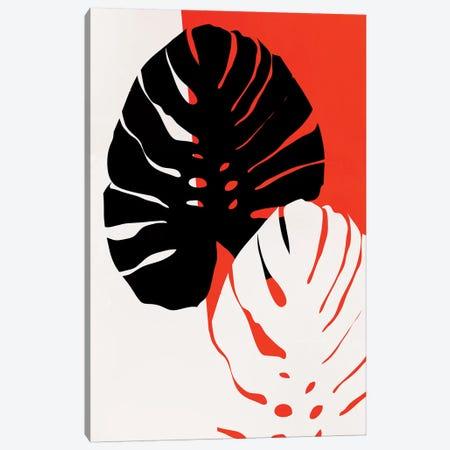 Monstera Leafs - Red Canvas Print #KUB194} by Kubistika Canvas Artwork
