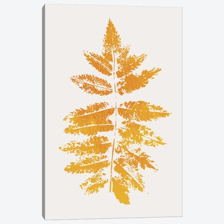 Oak Leaf Print - Yellow Canvas Print #KUB204} by Kubistika Canvas Art