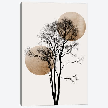 Sun And Moon Hiding-Gold Canvas Print #KUB228} by Kubistika Canvas Art Print