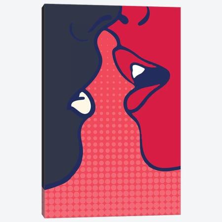 The Kiss - Pink Canvas Print #KUB235} by Kubistika Canvas Art Print