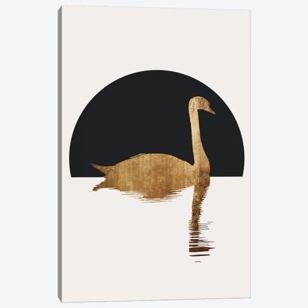 The Swan - Black Canvas Print #KUB236} by Kubistika Art Print