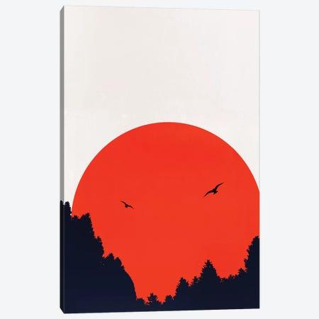 Two Birds - Red Canvas Print #KUB244} by Kubistika Canvas Art