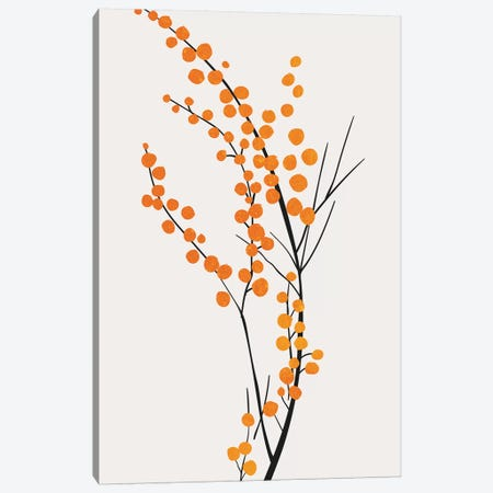 Wild Berries - Orange Canvas Print #KUB250} by Kubistika Canvas Wall Art