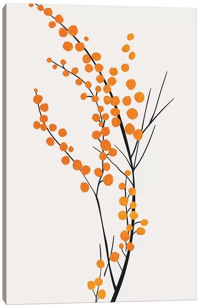 Wild Berries - Orange Canvas Art Print