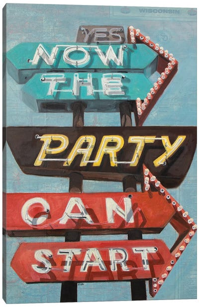 Now The Party Canvas Art Print