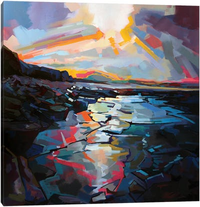 Sunlit Rocks At Tullaghan Canvas Art Print